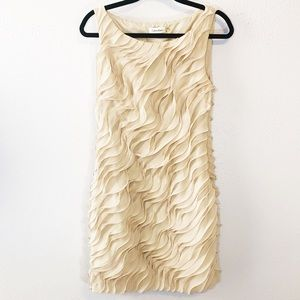 Calvin Klein cream beige ruffled sheath dress sz 8